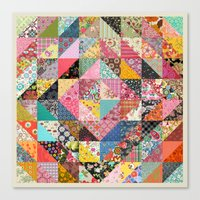 quilt Canvas Prints featuring Grandma's Quilt by Rachel Caldwell