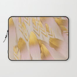 Gold Pink Arrow Feathers Laptop Sleeve