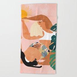 Tropical Yoga #illustration #tropical Beach Towel