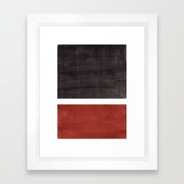 Colorful Bright Minimalist Rothko Color Field Midcentury Modern Brown Black Square Vintage Pop Art Framed Art Print