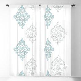 Scroll Damask Art I (outline) Blue Gray Wt Blackout Curtain