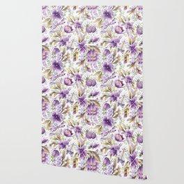 violet garden floral pattern Wallpaper