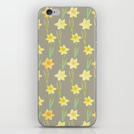 Yellow Watercolour Stemmed Daffodil Pattern iPhone Skin