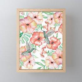 Hummingbirds + Hibiscus Framed Mini Art Print
