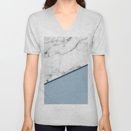 Real White Marble Half Ocean Grey Steel Blue Unisex V-Neck