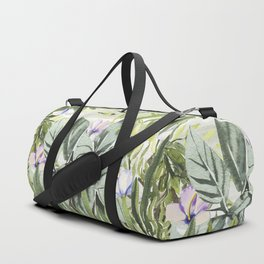 Tropical  lavender forest green watercolor floral Duffle Bag