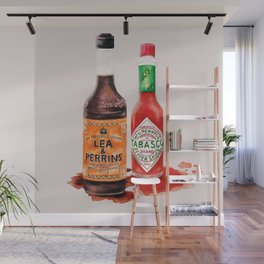 Saucy! Watercolour Food illustration Wall Mural