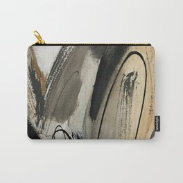 Drift [5]: a neutral abstract mixed media piece in black, white, gray, brown Carry-All Pouch