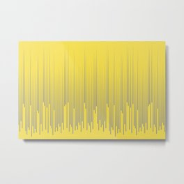 Minimal Frequency Line Art Pattern Pantone 2021 Color Of The Year Illuminating and Ultimate Gray  Metal Print