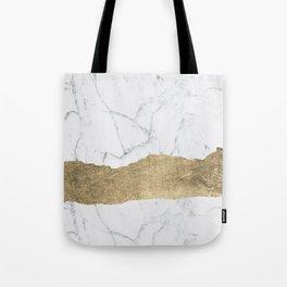 Elegant faux gold foil gray white modern marble Tote Bag