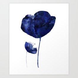 Blue & White Flower - 2 Art Print