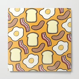 Breakfast Pattern Metal Print