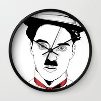 charlie chaplin Wall Clocks featuring Charlie Chaplin by ArpanDholi