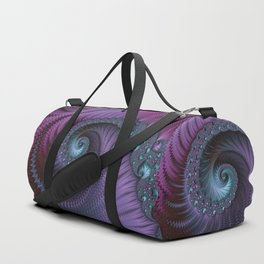 Fantastic Fractal Fantasies Purple And Teal Duffle Bag