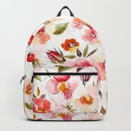 Hygge Watercolor Midsummer Dogroses Pattern  Backpack