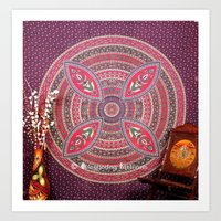 bedding Art Prints featuring Purple Mandala Dorm Tapestry Wall Hangings Bedding by Ved India