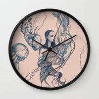 jellyfish Wall Clocks featuring Jellyfish by Huebucket