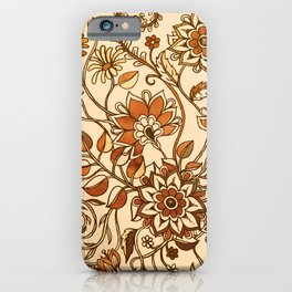 Jacobean Inspired Floral Doodle in Neutral Woodland Colors iPhone Case