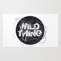 the thing Area & Throw Rugs featuring Wild Thing by feigenherz BAM