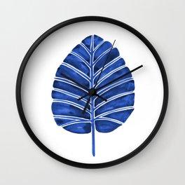 Elephant Ear Alocasia – Navy Palette Wall Clock