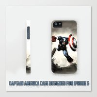 iphone 5 case Canvas Prints featuring Captain America Case Designed for iPhone 5 by dadostirlo