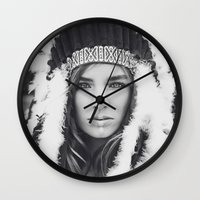 navajo Wall Clocks featuring Navajo by Jamie de Leeuw
