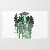 aliens Area & Throw Rugs featuring fuckin aliens by Nate Galbraith
