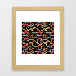 Vector graphic beautiful pattern of colored Salamander Framed Art Print