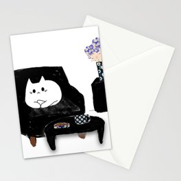 cat tea time 359 Stationery Cards