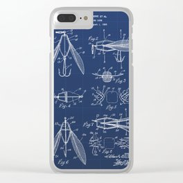 Fishing Tackle Vintage Patent Hand Drawing Clear iPhone Case