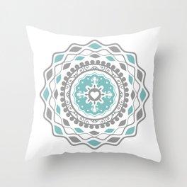 Heart Mandala – Blue Throw Pillow