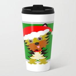 Christmas Yorkshire Terrier Cartoon Metal Travel Mug