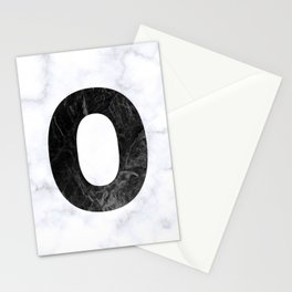 Black Marble Initial Monogram Letter O Stationery Cards