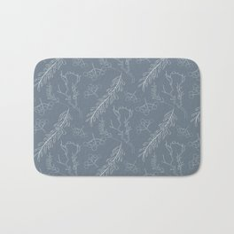 Blue gray white hand painted winter floral berries Bath Mat