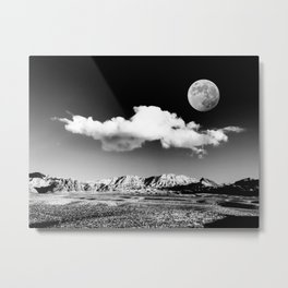 Black Desert Sky & Moon // Red Rock Canyon Las Vegas Mojave Lune Celestial Mountain Range Metal Print