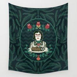 Yule Log Lady (in Green) Wall Tapestry