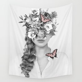 woman with flowers and butterflies 9a Wall Tapestry