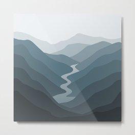 Grey Mountain View Metal Print