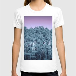 Muted Teal Trees Lavender Sky T-shirt