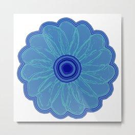 Funky Blue Flower Metal Print