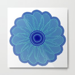The Hand Drawn Funky Floral Retro Classic -Blue Moon Flower Design Metal Print