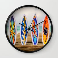surfboard Wall Clocks featuring Surfboard by Leonardo Vega