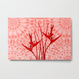 Morocco Oriental Flower Mosaic Heliconia coral Metal Print