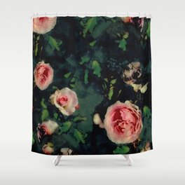 Big Pink Roses and Green Leaves Graphic Shower Curtain
