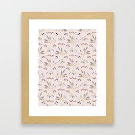 Pink Natural Leaf Berry Branch Vector Pattern, Framed Art Print