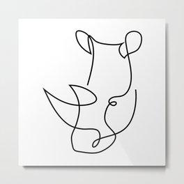 menace - rhino one line art Metal Print