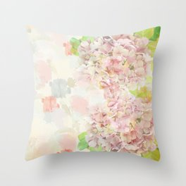 Pink Hydrangeas on a soft pastel abstract background Throw Pillow