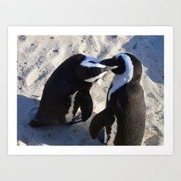 Penguin Smooches Art Print