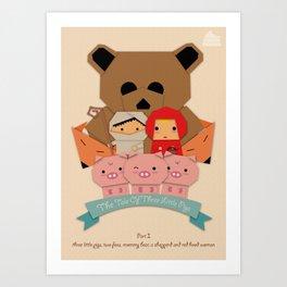 3 little pigs Art Print