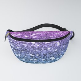 Bright Blue Purple Glitters Sparkling Pretty Chic Bling Background Fanny Pack